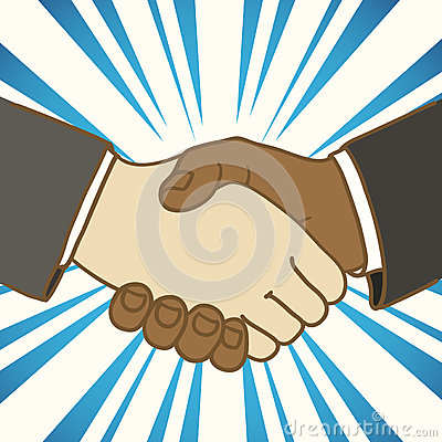 Two businessmen shaking hands. Good deal