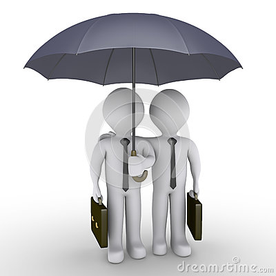 Two businessmen under one umbrella