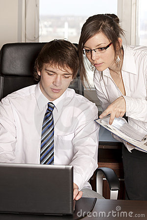 Two businesspeople working