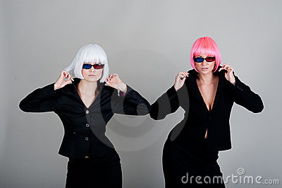 Two businesswoman in glasses for 3d movie
