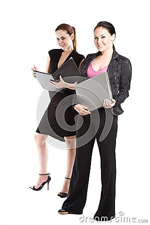 Two businesswomen working