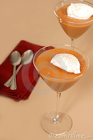 Free Two Butterscotch Puddings In Martini Glasses Stock Photos - 1695983