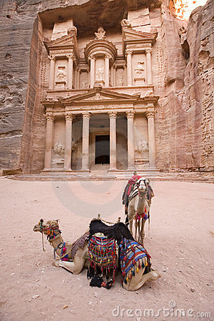 Free Two Camels In Front Of Treasury At Petra Jordan Royalty Free Stock Photos - 3806628