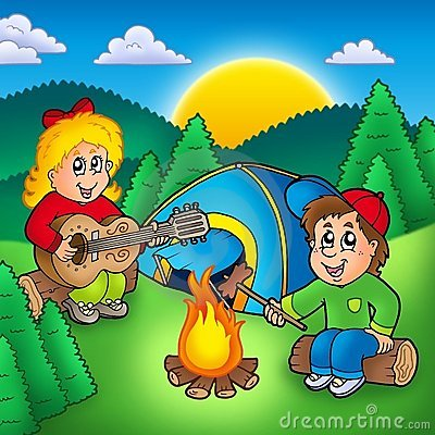 Two Camping Kids Stock Photo - Image: 14228570