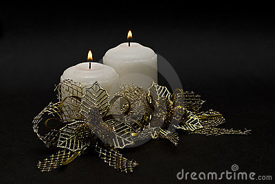 Two candles and golden bonds.