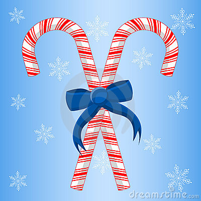 Two Candy Canes With Ribbon