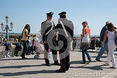Two carabinieri, police in Venice. Editorial Stock Image