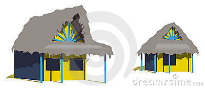 Two caribbean beach huts