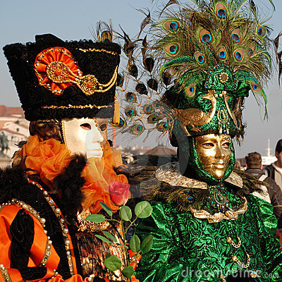 Two Carnival Goers, Venice Editorial Stock Photo