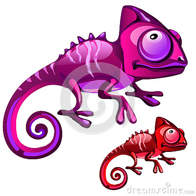 Free Two Cartoon Iguanas In Red And Purple Color Stock Photos - 77193763