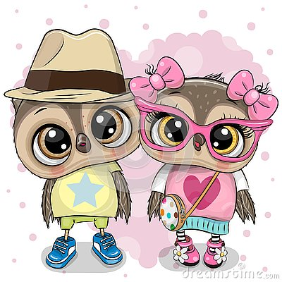 Two Cartoon Owls on a heart background Vector Illustration