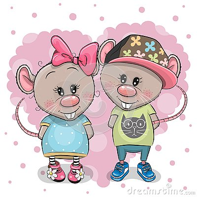 Free Two Cartoon Rats On A Heart Background Royalty Free Stock Images - 141158569