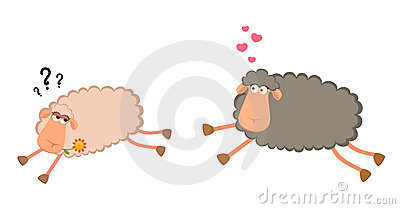 Two cartoon smiling sheep in love