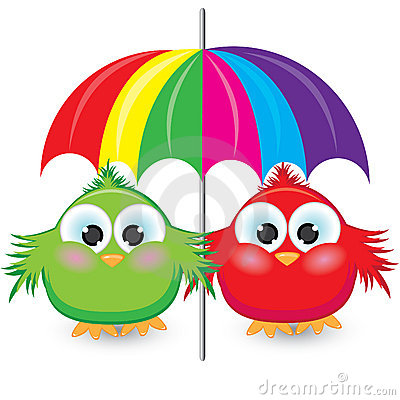 Two cartoon sparrow under the colorful umbrella