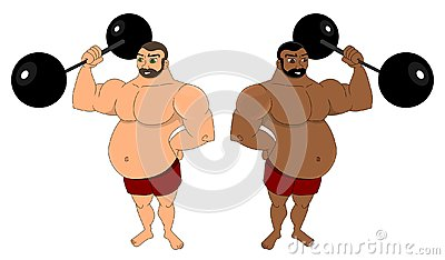 Two cartoon strongmen with barbells