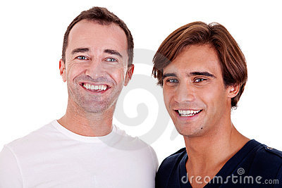 Two casual men smiling