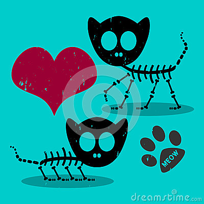 Two cat skeletons in love