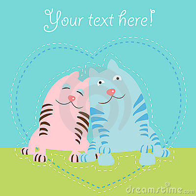 Two cats love card