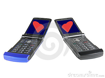 Two cell phones with red hearts