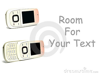 Two cell phones on white with space for text