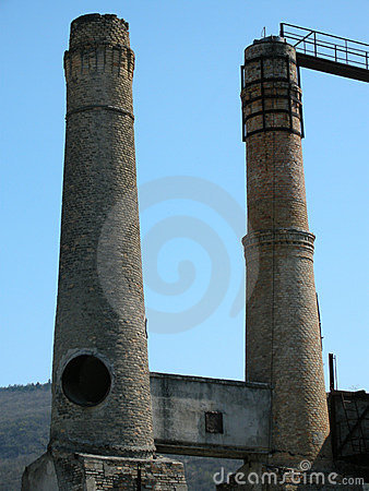 Two cement factory towers