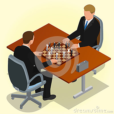 Free Two CEO Playing Chess Using Businessman. Business Concept. Flat 3d Isometric Vector Illustration. Stock Images - 66769234