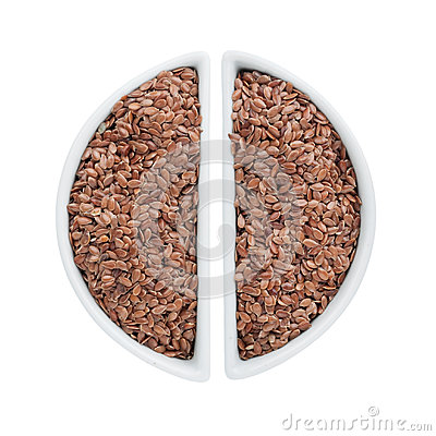 Two ceramic plates with flax seeds