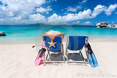 Two Chairs Couple Tropical Beach Stock Image Image 11975821