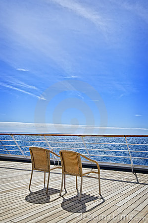 Free Two Chairs On A Cruise Ship Deck Stock Image - 21240751