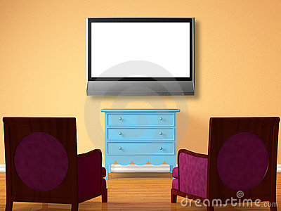 Two chairs opposite wooden bedside with the lcd tv
