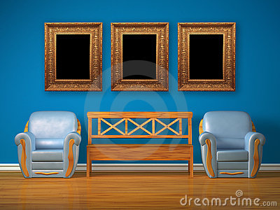 Two chairs with wooden bench and antique frames