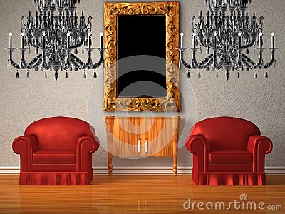 Two chairs with wooden console and two chandeliers