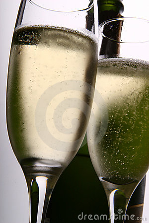 Two Champagne Flutes and Bottle
