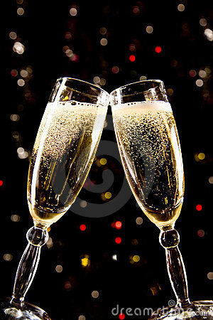 Free Two Champagne Glasses Making Toast Stock Photo - 6868760