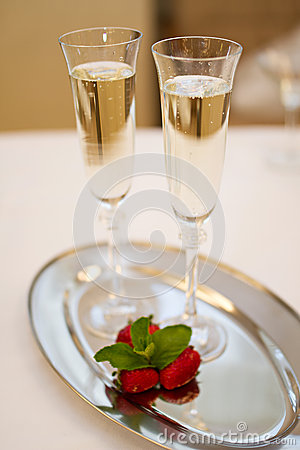 Free Two Champaign Glasses And Strawberries  On White Royalty Free Stock Photo - 56311325