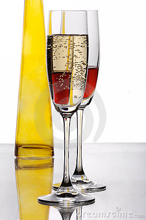 Free Two Champaign Glasses With Yellow Bottle Stock Photo - 3842790
