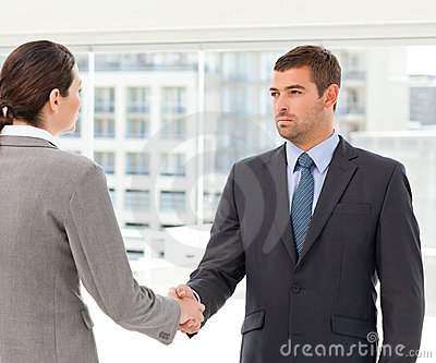 Two charismatic businesspeople shaking their hands