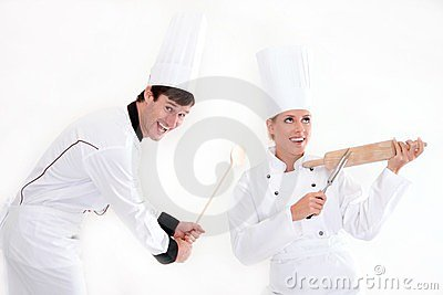 Two chefs - cooking is fun