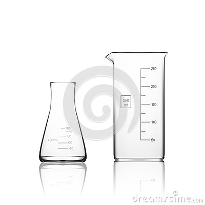 Free Two Chemical Laboratory Glassware Or Beaker. Glass Equipment Empty Clear Test Tube Stock Images - 78073824