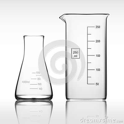 Free Two Chemical Laboratory Glassware Or Beaker. Glass Equipment Empty Clear Test Tube Stock Image - 79698941