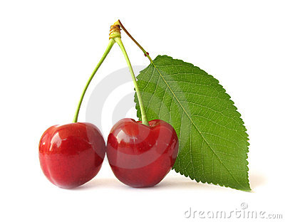 Two cherries with green leaf