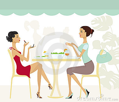Two chic girls in a cafe