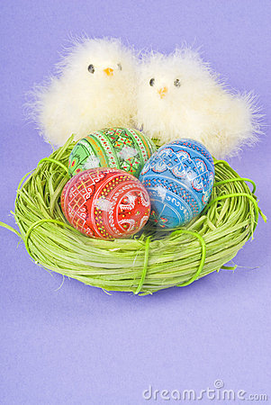 Two Chicks and Easter Eggs