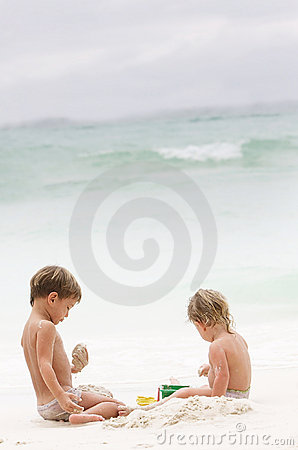 Two children on beach