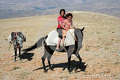 Two children on donkey