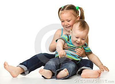 Two children is having fun