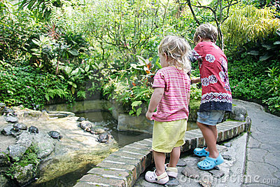 Two children in park