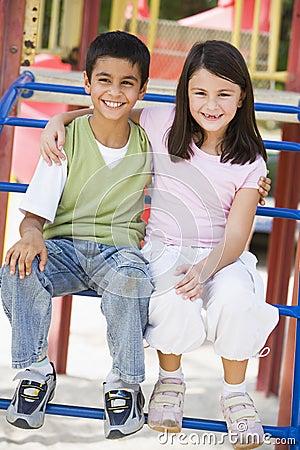 Two children in playground