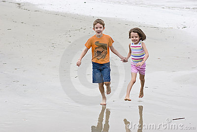 Two children running