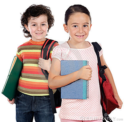 Free Two Children Students Returning To School Stock Photo - 7203930